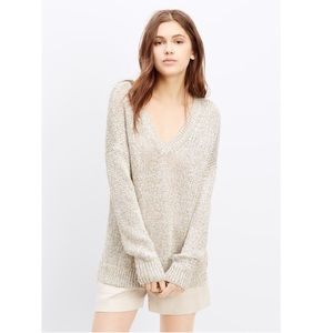 BOGO! Vince Linen Metallic Chunky Oversized V-neck Sweater